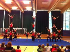 The Acronaires from Burman University (Lacombe, Alberta, Canada) April, 2015 in Comox, BC (road show).  The Acronaires are a performance-based acrobatics team committed to the advancement and progress of gymnastic skills and community development. In their pursuit of acrobatic excellence, they attempt to impact the communities they tour by encouraging a healthy lifestyle and by promoting athletic involvement among young people.