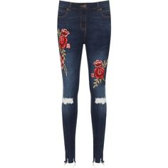 WearAll Floral Embroidered Ripped Skinny Jeans (€38) ❤ liked on Polyvore featuring jeans, pants, blue, super skinny jeans, skinny leg jeans, super distressed skinny jeans, skinny jeans and ripped jeans