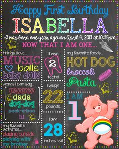 "Custom CARE BEARS Chalkboard Design 16"" x 20"" Poster Design - Baby's First Birthday on Etsy, $20.00"