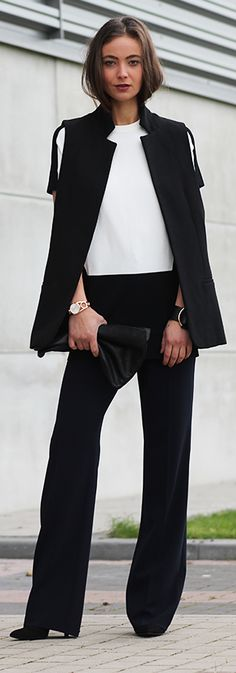 Black Pant And Vest Suit Fall Inspo by Mode d'Amour