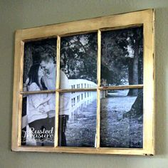 DIY Picture Window Frames - I would probably put a picture of a landscape, so that it would be like looking out an actual window.