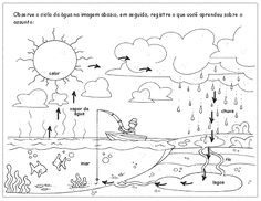 Pode parecer uma atividade simples, mas requer algumas habilidades e conhecimentos da criança. Por meio desta paisagem você pode aval... Science Experiments Kids, Science For Kids, Nature Activities, Activities For Kids, Water Cycle Project, Kindergarten, Tracing Worksheets, Preschool Education, Pre School