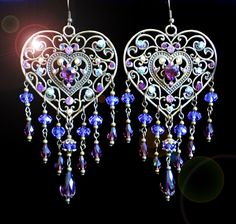 Large Flirty Purple Swarovski Crystal Heart Chandelier Earrings