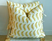 Indian Hand block Print Throw Pillows Cushion Covers Organic Cotton and Organic Linen 22x22 Pair Yellow and White Print Side Ties