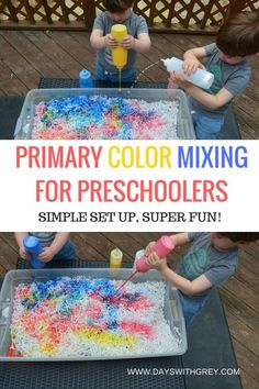 color mixing activity for preschoolers! This art activity is perfect for science, your next sensory bin, or preschool center time. Preschool Color Theme, Preschool Color Activities, Preschool Learning, Sensory Activities, Toddler Activities, Learning Activities, Preschool Ideas, Painting Activities, Spring Activities