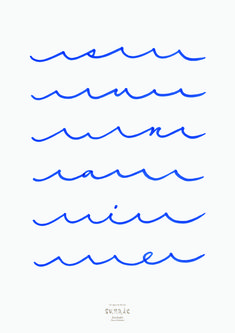 I don't know what it says, but I like it! Waves forming words – poster, graphic design from Terashima Design Co.