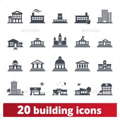 Building Icons — Photoshop PSD #municipal #icon • Available here → https://graphicriver.net/item/building-icons/12743468?ref=pxcr