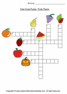 Criss cross worksheets for early childhood kids, preschool, kindergarten, grade fruits themed criss cross worksheet. Word Puzzles For Kids, Printable Crossword Puzzles, Sudoku Puzzles, English Activities For Kids, English Worksheets For Kids, English Writing Skills, Teaching English, Dots And Boxes, Christmas Word Search