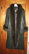 Greg Bell Long Leather Fox Fur Trench Coat - Beautiful Dark Green - Small - MINT