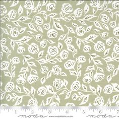 Green White Small Floral Fabric, 5121 14, Moda Folktale Enchanted Bloom Sage, Lella Boutique, One 1 Yard Cut Bty by Jambearies on Etsy