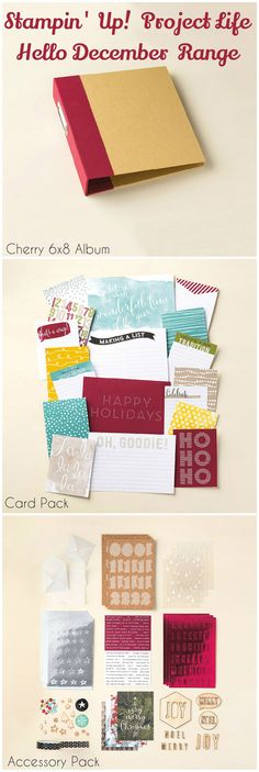 Stampin' Up! Hello December Project Life Range from the Merry and Bright Holiday Supplement. Perfect for documenting December and Christmas. Includes 6x8 Cherry album, card pack (includes 71 cards) and accessory pack. #PLxSU #HelloDecember #ProjectLife #DecemberDaily #Christmas