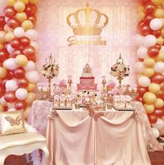 The dessert table at this Princess Birthday Party is amazing!! See more party ideas and share yours at CatchMyParty.com #princess #birthdayparty