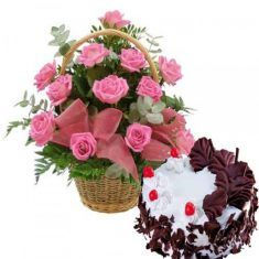 12 Pink Roses Basket with Cake : buy flowers online, buy cake online, send flowers, cakes to India Wedding Gifts For Relatives, Wedding Gifts Online, Online Gifts, Rose Basket, Flower Basket, Online Florist, Local Florist, Buy Cake Online, Rose Delivery