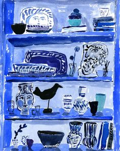 "Bookshelf By Bella Foster  Seven color silkscreen print.  Print run: Edition of 150   Print size: 11"" x 14""  Print signed by artist."