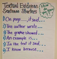 Common Core is all about evidence! Standard One for all grades is all about showing the evidence! This is a great Anchor Chart for Textual Evidence Sentence Starters- I would modify the language required for upper elementary and middle school students. Teaching Writing, Student Teaching, Essay Writing, Argumentative Writing, Teaching Themes, Teaching Character, Sentence Writing, Opinion Writing, Persuasive Writing