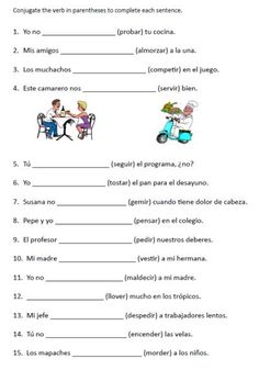 spanish stem changing verbs free printable conjugation worksheet for kids middle school high