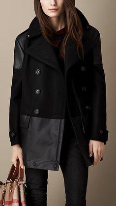 Contrast Fabric Pea Coat | Burberry