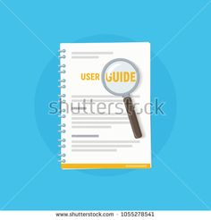 Icon user guide with magnifying glass. User manual. Vector illustration of instruction manual in flat style.