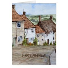 Gold Hill Shaftesbury Dorset Watercolor Painting Card - gold gifts golden customize diy
