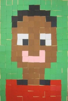 Self portraits using squares - can be linked to fractions