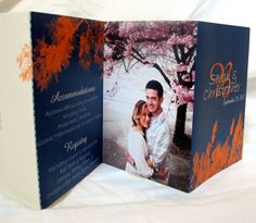 This is actually really cool!  Fall Orange and Blue Wedding Invitation  86 by gwenmariedesigns, $3.50