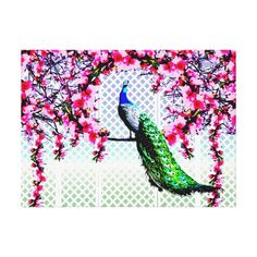Peacock Cherry Blossoms And Lattice Gallery Wrapped Canvas - This wrapped canvas print features a peacock perching on a cherry blossom branch in front of a lattice wall.