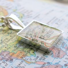Map Sterling Silver Square Necklace. You Select the Journey.