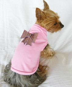 new dog cat clothing light pink tee shirt 100% cotton bling bow pink