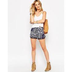 ASOS Shorts in Bandana Print with Pom Pom Hem ($33) ❤ liked on Polyvore featuring shorts, navy, asos shorts, navy blue shorts, rayon shorts, slim shorts and elastic waist shorts