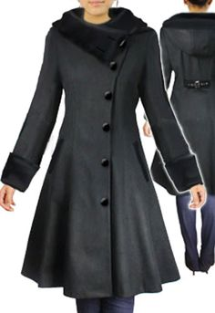 Side Button Wool coat with Velvet Hood by Amber Middaugh -Save 37% at Chicstar.com Coupon: AMBER37