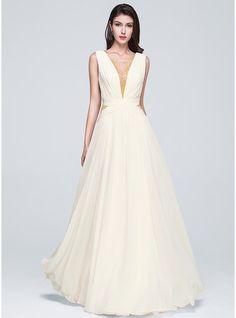 A-Line/Princess Square Neckline Floor-Length Chiffon Prom Dress With Ruffle Beading Sequins