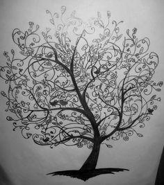 Drawing | Tree - birds - flowers