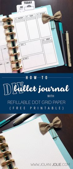 How To: DIY Bullet Journal with Refillable Dot Grid Paper - Jolani Jolie