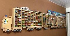 """If you are a hot wheels collector then you will appreciate these display efforts here. Hot wheels have become a """"toy"""" that is not only played with and collected by children. Hot Wheels Display, Hot Wheels Storage, Hanging Storage Shelves, Toy Storage, Storage Ideas, Ceiling Storage, Truck Storage, Creative Storage, Kids Storage"""