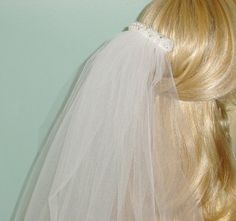 First Communion Veil White  Beaded Headpiece on Comb by AnnLeslie, $39.00