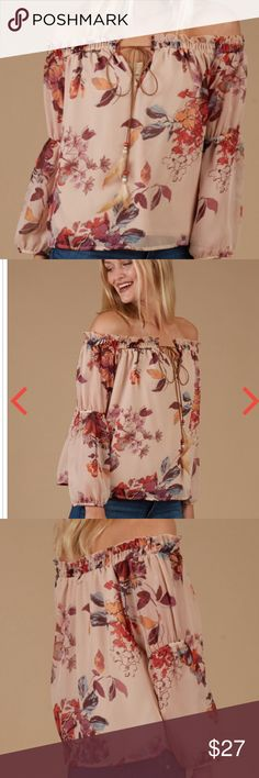 NEW LISTING NWT Altar'd State Feathered Floral top Altar'd State Feathered Floral off the shoulder top. The top is brand new with tags. The top is 100 percent polyester and is hand wash. Altar'd State Tops