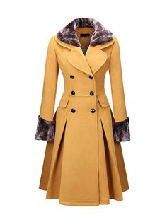Classical Double Breasted Faux Fur Collar Swing Woolen Coat >> Love the design and colour, but it needs to be made in a more superior material for me to consider buying it! Winter Coats Women, Coats For Women, Fur Fashion, Fashion Outfits, Modelos Fashion, Stylish Coat, Double Breasted Coat, Single Breasted, Schneider