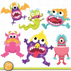 Cute Litter Monsters Clip art Set, Funny monster Lcm003 Personal and Commercial Use, cards, invitations, scrapbooking and all paper crafts.