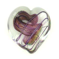 Art Glass Amethyst Ribbon Heart Paperweight by Glass Eye Studio