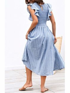 Vintage Striped Women Dresses Long Dress Ruffle Sleeve Linen Dresses Casual Ruched Vestidos Size S Color Blue Sewing Summer Dresses, Elegant Summer Dresses, Vintage Summer Dresses, Summer Dresses For Women, Modest Dresses, Striped Summer Dresses, Daily Dress, Look Chic, Cotton Dresses