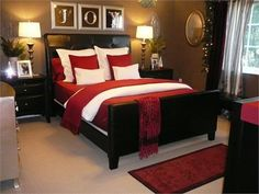 Red and black bedroom with cappuccino walls
