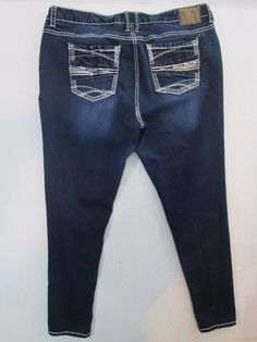 Amethyst Skinny Leg Stretch Sequence Pockets Dark Jeans 38X31 Plus Size 16 #487 #Amethyst #SkinnyLeg