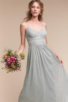 beautiful complement to a romantic wedding | Aida Dress in Morning Mist from BHLDN
