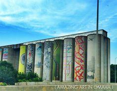 Art on abandoned grain elevators in Omaha, Nebraska