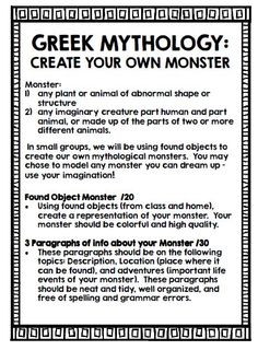 Greece: Interactive Notebook Greek Mythology: Create your own monster activity! Great for a unit on Ancient Greece and Mythology!:Greek Mythology: Create your own monster activity! Great for a unit on Ancient Greece and Mythology! 6th Grade Social Studies, 6th Grade Ela, Teaching Social Studies, Teaching History, Teaching Themes, Sixth Grade, Monster Activities, Thinking Day, Teaching Reading