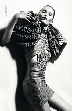 Sculptural Fashion - woven leather dress with dramatic tiered 3D shoulder structure; wearable art // Iris van Herpen
