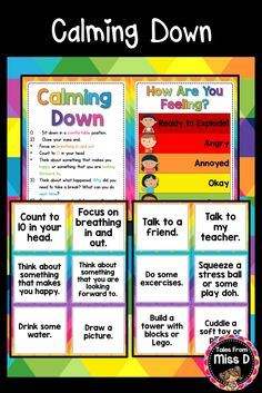 This pack contains resources to set up a Calm Down Corner in your room. 1) Steps to Calm Down Poster 2) How Are You Feeling Chart? 3) Calm Down Cards - suggestions for things that students can do to calm down (includes blank cards to add your own). © Tales From Miss D