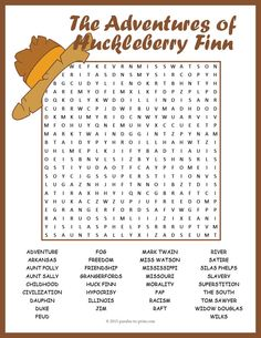 "Use this entertaining word search puzzle to review character and plot themes of Mark Twain's novel ""The Adventures of Huckleberry Finn"". Puzzlers will be reviewing spelling and solidifying knowledge of the book while they have fun looking for the hidden words."
