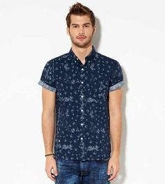 AE Paneled Short Sleeve Button Down Shirt - Slim Fit | Guy fashion ...