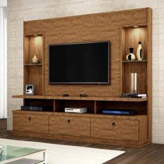 Estante Home Theater Para TV até 55 Pol. - Ashtyn Wilderman I - Hometheaters Tv Unit Decor, Tv Wall Decor, Wall Decorations, Wall Tv, Room Decor, Lcd Panel Design, Lcd Unit Design, Tv Unit Furniture Design, Tv Furniture